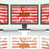 stock photo of conduction  - Actions Monitors Showing Behaviour Manner And Conduct - JPG