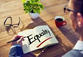 stock photo of equality  - Man with Note Pad and Equality Concept - JPG