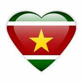 stock photo of suriname  - Suriname flag button on a white background - JPG