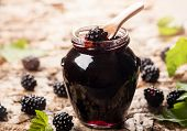 image of blackberries  - Blackberry jam in a jar - JPG