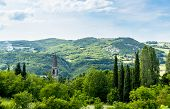 image of apennines  - Church on the Rolling Hills of the Apennines Mountains Piacenze Italy - JPG