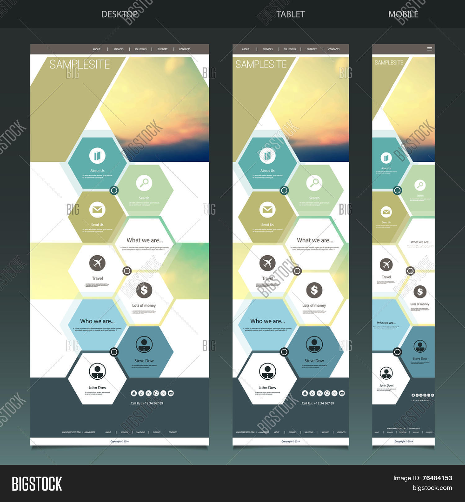 One Page Website Template with Blurred Background - Sunset Pattern ...