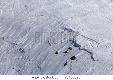Off-piste Slope With Snow Cornice And Stones