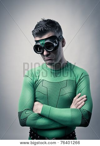 Pensive Superhero With Arms Folded
