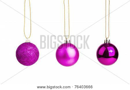 Three Of Purple Christmas Tree Baubles