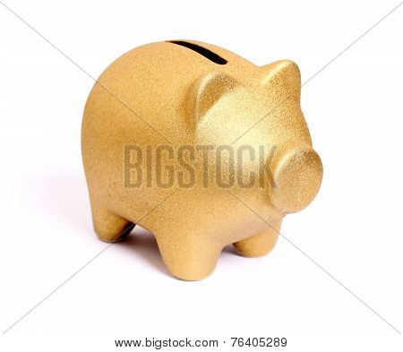 Golden Piggy Bank From Front Side Right