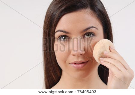 Close Up Portrait Of Beautiful Woman With Pure Sensitive Skin