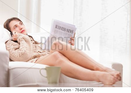 Bored Businesswoman Listening Someone Talking