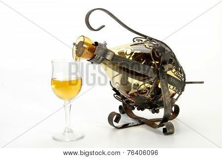 Ornate Swivel Frame And Holder Decanting Wine Into Glass
