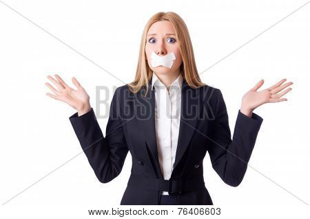 Businesswoman in censorship concept isolated on white