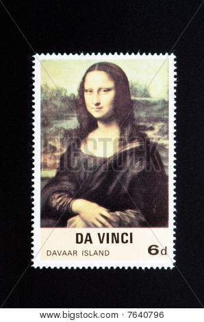 Mona Lisa Da Vinci Stamp With Large Black Borders