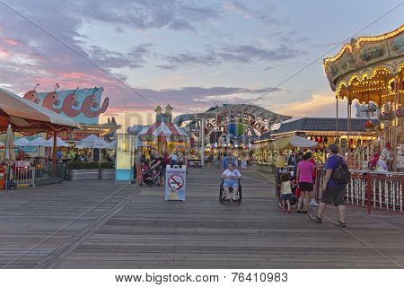 Wildwood Boardwalk At Twilight