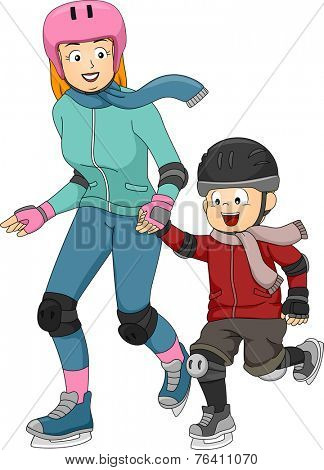 Illustration Featuring a Mother Teaching Her Son How to Ice Skate