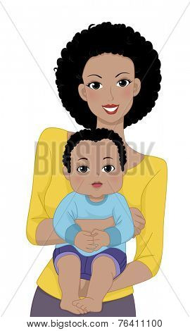 Illustration Featuring a Mother Carrying Her Young Baby