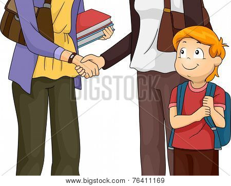 Illustration Featuring a Mother Having a Meeting with Her Son's Teacher