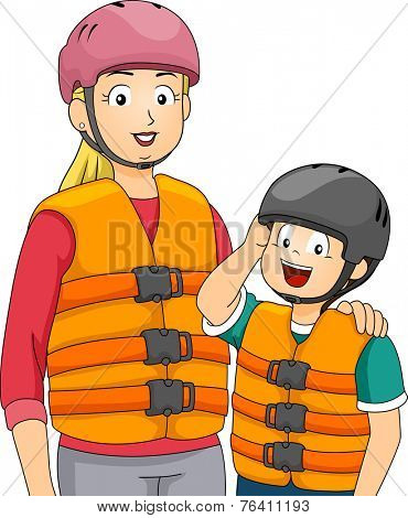 Illustration Featuring a Mother and Son Wearing Life Vests