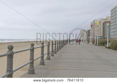 Virginia Beach Boardwalk On A Cold, Cloudy Day