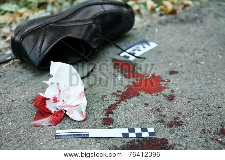 Evidence and blood on crime scene