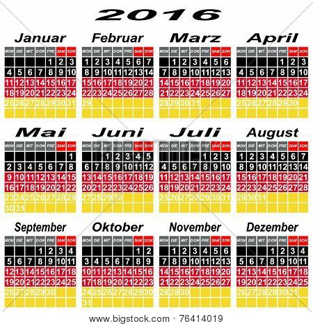 Germany Calendar Of 2016.