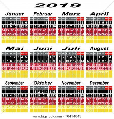 Germany Calendar Of 2019.