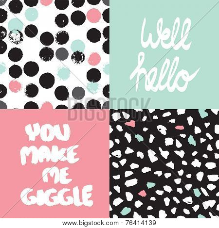 Well hello cover design You make me giggle typography poster print design and seamless abstract dots background pattern in vector