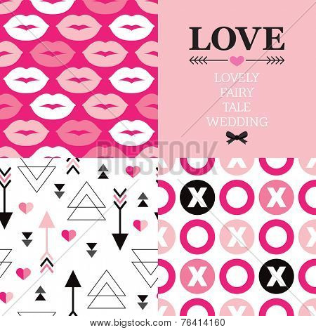 Valentine's day and wedding typography greeting card cover design and seamless love theme background pattern set in vector