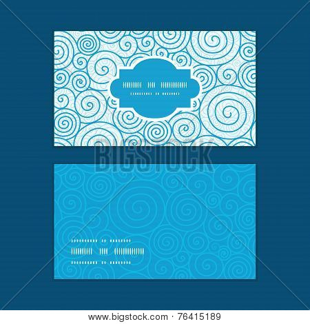 Vector abstract swirls horizontal frame pattern business cards set
