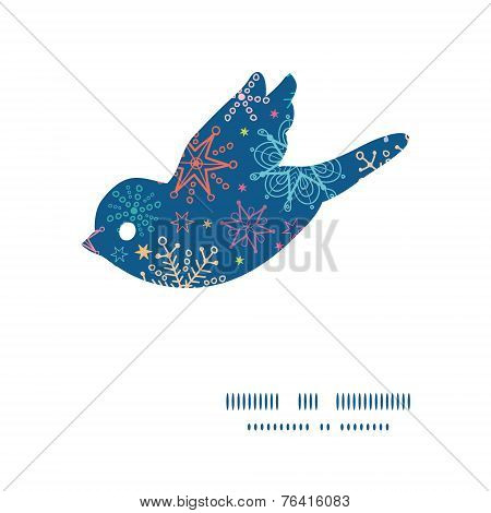 Vector colorful doodle snowflakes bird silhouette pattern frame