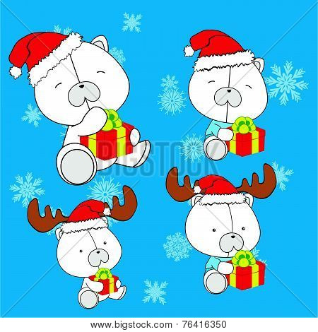 sweet xmas polar bear baby cartoon set