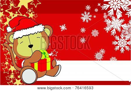 monkey baby cartoon xmas background