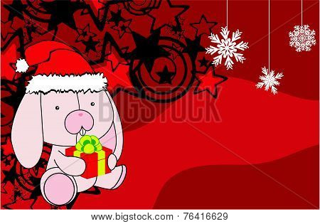bunny baby cartoon xmas background