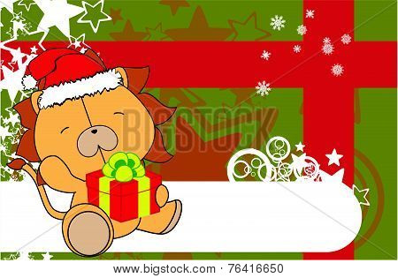 lion baby cartoon xmas background