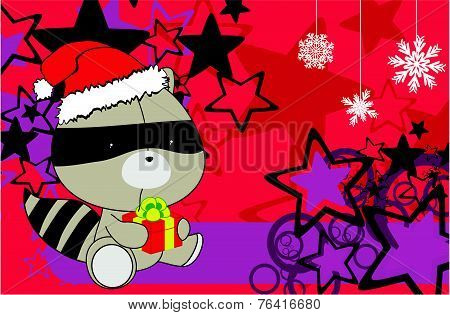 raccoon baby cartoon xmas background