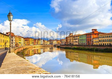 Pisa, Arno River, Lamp And Buildings Reflection. Lungarno View. Tuscany, Italy