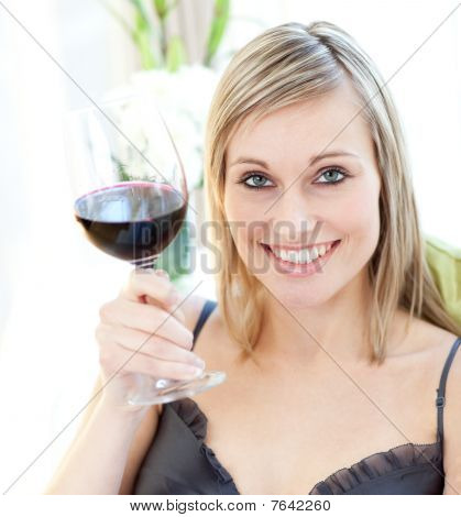 Bright Woman Drinking Red Wine
