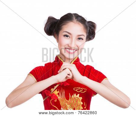Asia Girl With Cheongsam Respecting