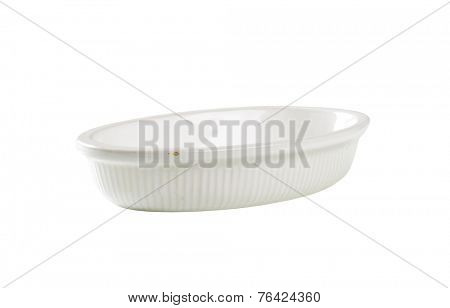 cutout of white oval bowl on white background