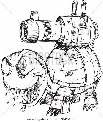 War Tank Turtle Sketch Vector Illustration Art