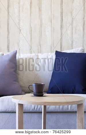 Living Room Sofa With Pillows Coffee on Table,