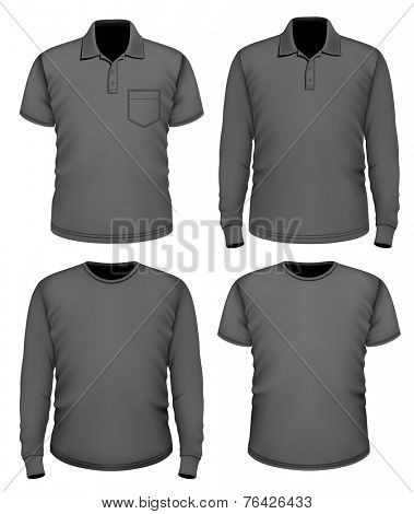 Set of men's black short and long sleeve clothes. Vector illustration.