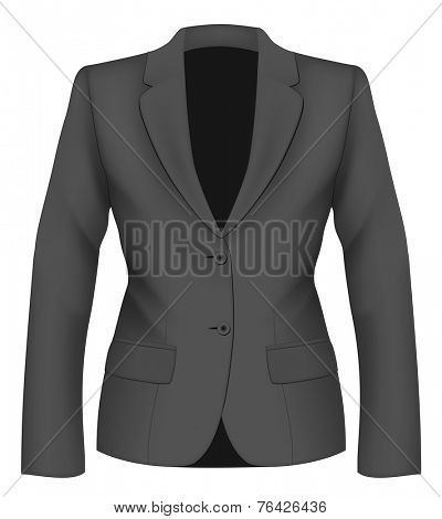 Ladies black suit jacket for business women. Formal work wear. Vector illustration.