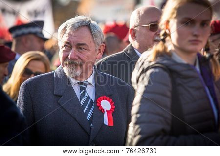 KRAKOW, POLAND - NOV 11, 2014: Prof. Jacek Majchrowski is Mayor of the Royal Capital City of Krakow since 2002, during the celebration of National Independence Day an Republic of Poland.
