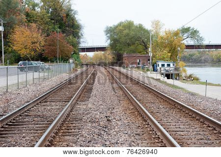 Train Tracks In Small Rural Town