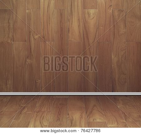 Empty Room Of Teak Wood Board Texture Wall And Floor
