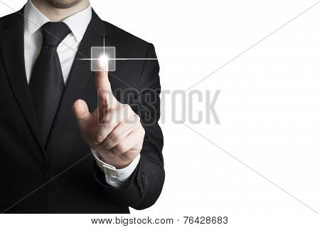 Businessman Pushing Touchscreen Button Isolated White Background