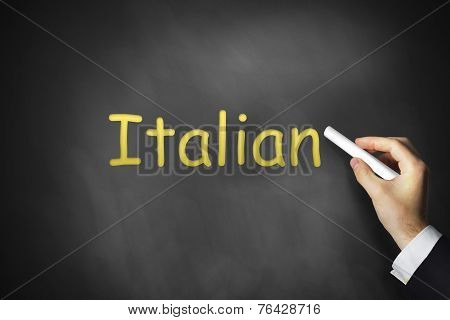Hand Writing Italian On Black Chalkboard