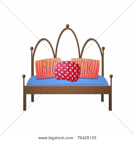 Beautiful double bed in a realistic style