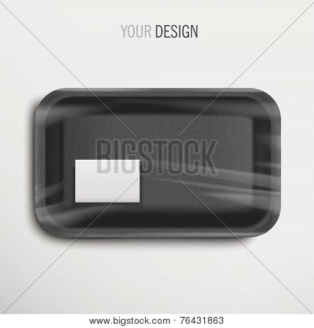 Empty Wrapped Black Food Tray With Label