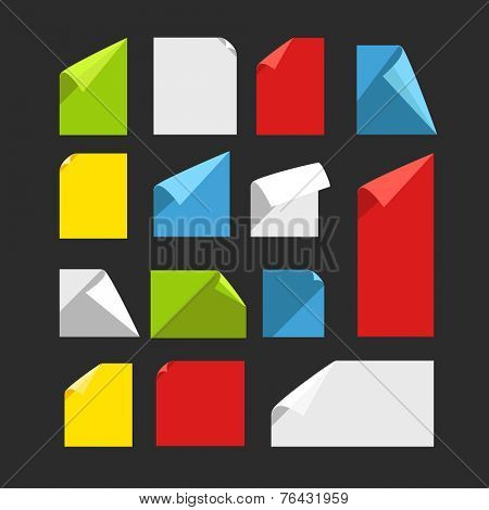 Collection of color blank paper sheets with bending corners. Flat design template