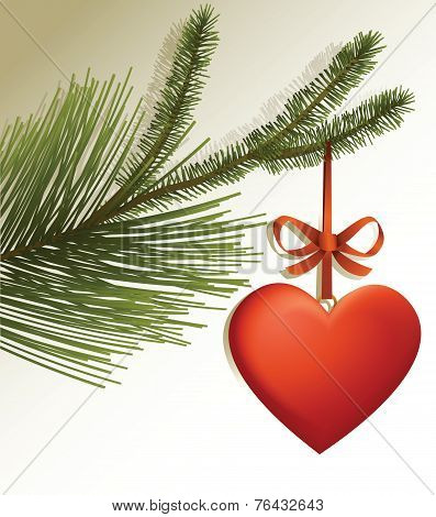 Christmas tree branch with red heart